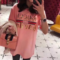 gucci women casual fashion sequin letter embroidery short sleeve t shirt top tee