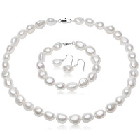FEIGE Baroque Style 10-11mm White Natural Freshwater Pearl Jewelry Set 925 Silver Earring parure bijoux femme Fine Jewelry sets