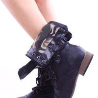 BLACK FAUX LEATHER LACE UP FOLD OVER COMBAT BOOTS