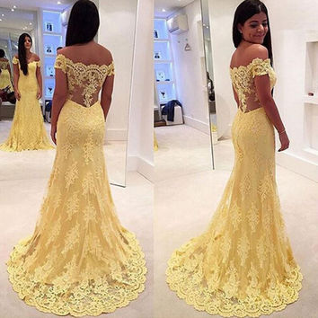 Yellow Off Shoulder Prom Dresses Overlay Lace V Back pst0070