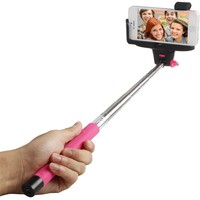 Bluetooth Selfie Stick with Shutter Button for Apple iPhone 4, Pink