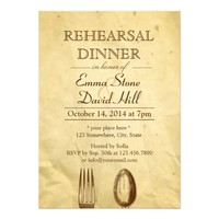 Vintage Old Paper Dining Tools Rehearsal Dinner