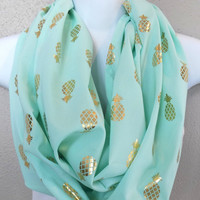 Gold Shimmer Pineapples on Mint Fabric Infinity Scarf Womens Spring Lightweight Scarf Pineapple Summer Scarf Adult Fashion Scarf Mint Scarf