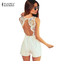 Women Sexy Lace Backless Overall