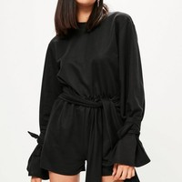 Missguided - Black Tie Sleeve Tie Front Romper