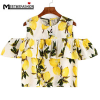 MEETMEFASHION Cute Lemon Printing Blouse Women Cotton Linen Blusa O Neck Off The Shoulder Plus Size Shirt Casual Plus Size Blusa