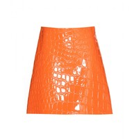 Embossed faux patent leather skirt