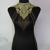 New Lace Flower Collares Gold Body Chains Statement Necklace Women Hollow Out Gothic Necklace Multilayer Punk Party Jewelry