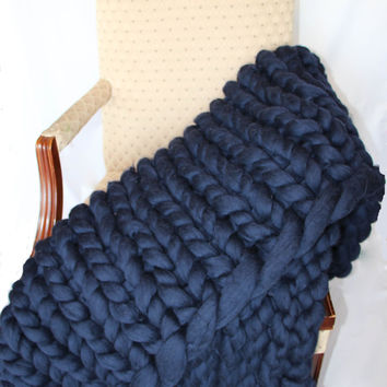 PROMO SALE Super Chunky Knit blanket, Wool knit blanket, Knitted blanket, Mega Chunky blanket, Knit Throw Blanket, super bulky,  Bulky Gift