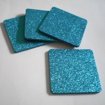 "AQUA GLITTER COASTERS - Large Square Drink Coasters in Sparkling Fine Glitter - set of four - 4"" x 4"""