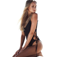 2017 Summer Sexy Bandage Bikini String Backless Halter High Cut Swimwear Women Thong One Piece Swimsuit Bathing Suit Beachwear