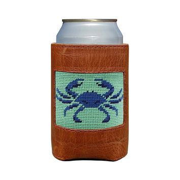 Blue Crab Needlepoint Can Cooler by Smathers & Branson