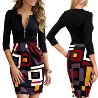 Sexy Women 3/4 Sleeve Splice Bodycon Pencil Dress High Waist Short Party Dress