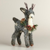 Natural Fiber Fawn with Wreath