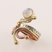 Moonstone Sterling Silver Three Tone Whimsical Ring