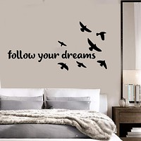 Vinyl Wall Decal Bedroom Quote Birds Dreams Home Art Stickers Unique Gift (ig3683)