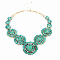Peacock Blue Linked Flower Statement Necklace