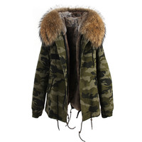 Camouflage Natural Fur Hooded Parka