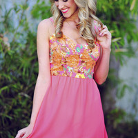 Brought Me Flowers Dress: Neon Pink | Hope's
