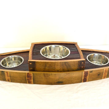 "MADRA -- ""Bowser"" -- Wine Barrel Stave Dog Bowl -- 100% recycled"