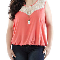 Plus-Size Lightweight Top with Lace Yoke - Rainbow