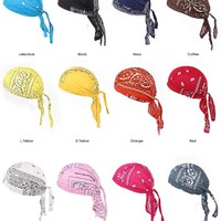 12 pcs summer style 100% Cotton Hair Paisley Bandana durag do rag Beanie Tie Down Hat Head Wrap mix colors hair accessories