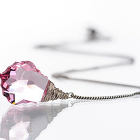 Light Rose Pink Wire Wrapped Necklace Swarovski Baroque Jewelry Pink Summer Beadwork Necklace