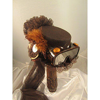 Steampunk Brown Riding Hat with Goggles