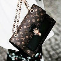 LV fashion bee letter stripe print leather shoulder bag crossbody bag