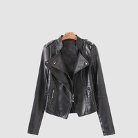 Solid  Flap Zipped Quilted Long Sleeve Biker Leather Jacket