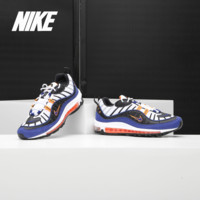 Nike/ Nike Genuine Air Max 98 Black and White Blue Men's Retro Full Palm Air Cushion Running Shoe CD1536