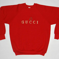 Vintage 80s GUCCI Embroidered Logo Sweatshirt Crewneck Sweater Hip Hop 50/50 Shirt