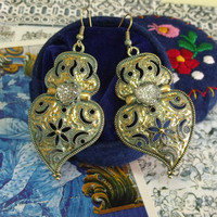 Portuguese folk Gold heart Viana earrings verdigris big dangle heart earrings Portugal jewelry art