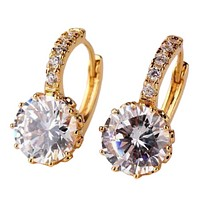 18K White Gold Plated Diamond 5.5CTW CZ Solitaire Hoop Earrings For Woman In White Or Yellow Gold