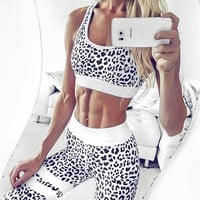 Hot Sale Summer Women's Fashion Vest Leopard Print Yoga Sports Sportswear Set [10779761991]
