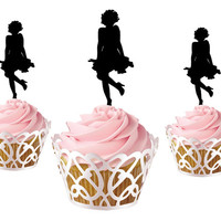 6 pcs marilyn monroe silhouette CupCake toppers, cake decor for birthday party, acrylic cupcake toppers party decor, cake topper supplies