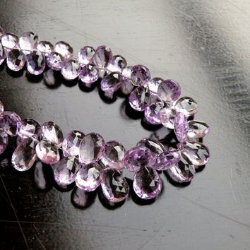 SALE 31% Off Pink Amethyst Briolette Gemstone Faceted Pear Tear drop 13 to 14mm 7 beads
