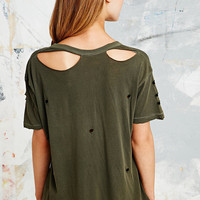 Pins & Needles Washed Torn Tee in Olive - Urban Outfitters