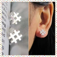 Tiny # Hashtag Clip on Earring, C42s Number Sign Symbol Non Pierced earring Silver plate invisible clip on stud better than magnetic earring