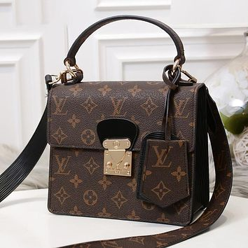 LV Louis Vuitton Fashion Women Shopping Bag Leather Satchel Shoulder Bag Handbag Crossbody Coffee