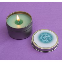 Throat Chakra Candle - Share Your Value & Speak Up for Yourself - 4th Blue Vishuddha Neck Chakra