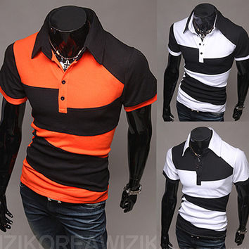 Color Contrast Men Fashion Slim Fit Polo Tee