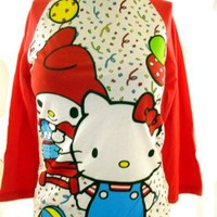 Hello Kitty Girls T-Shirt - Confetti Party on White with Red Baseball Style Sleeves