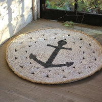 Rush Mat - Round with Anchor