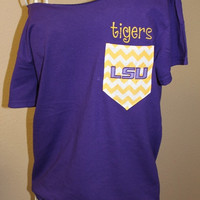 LSU Tigers Pocket OfftheShoulder Shirt Chevron by SewSnazzybyBrook