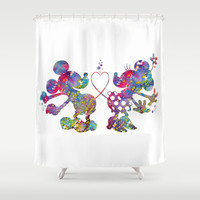 Mickey Loves Minnie Shower Curtain by Bitter Moon