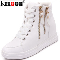 Leather Ladies High Top Heighten Women Shoes Winter Warm Europe Style Zapatillas Deportivas Mujer