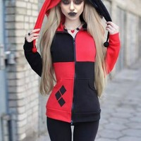 New Black-Red Patchwork Pockets Harley Quinn Cosplay Cardigan Casual Hooded Sweatshirt