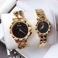 DIOR Lover Couple Fashion Diamonds Quartz Movement Watch WristWatch