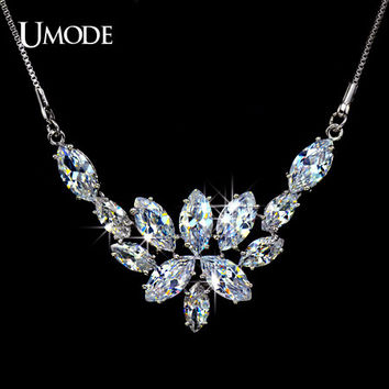 UMODE 'Blossoming of Love' Marquise-cut CZ simulated CZ Stone Bridal Pendant Necklace UN0022